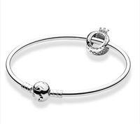 Yeni Otantik 925 Ayar Gümüş Charms Bilezik Fit Avrupa Boncuk Takı Bileklik Kadınlar için Gerçek Gümüş Bilezik