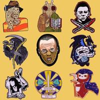 SP040 Hannibal Mask Dos Desenhos Animados Esmalte Pin Brooches Criativo Horror Metal Broche Pins Denim Hat Badge Collar Jóias Halloween Presentes