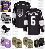 2021 Обратный ретро настроить # 6 Olli Maatta Los Angeles Kings Jerseys Golden Edition Camo ветеранов день борется с раком хоккейный джерси