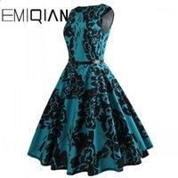 Платья партии мода женщины без рукавов цветок печати банкетное платье простое коленное длину цветочного домого
