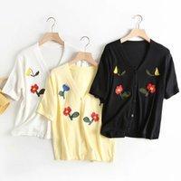 Femmes Summer-Automne Jaune Fashion Floral Broderie Cardigan 2019 Girl Sweet Girl V-Col en V noire Blanc Blanc Chemise Chemise B1203