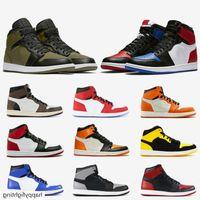 Jumpman Quality Mens 1 High OG Baloncesto Zapatos de baloncesto 1s Chicago Game Real Olive Lienzo Banned Shadow Black Toe