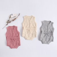 MILANCEL autumn new baby clothes knit vest and bloomer 2pcs boys clothes set 0-24 M baby girls clothing Y1113