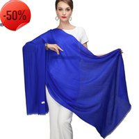 Señoras chal impresas nueva llegada sólida largas bufandas 100% pura lana envoltura 210 * 80 cm Bufanda azul real Pashmina 8cma