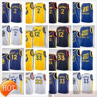 Impreso 2021 New City Basketball 33 James Wiseman Jerseys Blue White Yellow 2 Nico Mannion 12 Kelly Oobre Jr. Jerseys