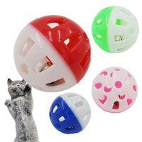 الحيوانات الأليفة لعب البلاستيك الجوف القط القط لعبة الكرة الملونة مع جرس صغير محبوب جرس صوت البلاستيك التفاعلية الكرة جرو لعب اللعب HH9-3604
