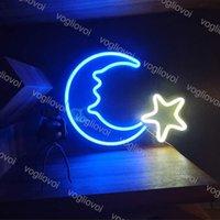 LED النيون تسجيل SMD2835 داخلي ضوء الليل تصميم نجمة والقمر نموذج مع شفاف backplane عطلة عيد الميلاد حزب الزفاف الجدول مصابيح DHL