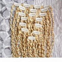 100g 몽골 변태 곱슬짜리 레미 헤어 클립 인간의 머리카락 확장에서 두꺼운 8pcs 세트