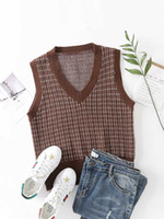 2021 Spring New Women' s Loose Top Classic Plaid Knitted...