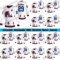 Colorado Avalanche 2021 عكس الرجعية جيرسي كيبيك Nordiques 8 Cale Makar 29 Nathan Mackinnon 96 Rantanen 92 Landeskog الهوكي الفانيلة