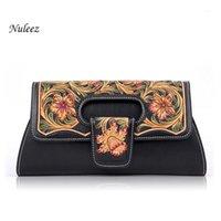 Nuleeez italie cuir véritable sac de soirée de soirée dame dame pochette chinoise sculpté à la main et dessin floral luxe 20201