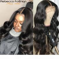 Rebecca Body Wave parte anteriore del pizzo parrucca 13x4 umani Parrucche 8-30 pollici brasiliana Pre-pizzicate pizzo dei capelli umani parrucche anteriore con bambino