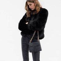 Piel de mujer Faux 2021 Abrigo, Cardigan de color sólido de manga larga, otoño e invierno femenino delgado abrigo corto de moda de moda.