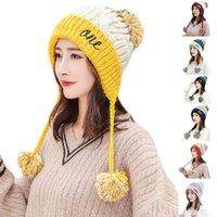 Bere / Kafatası Kapaklar Kadınlar Kış Tıknaz Örgü Kontrast Renk Beanie Şapka Harfler Nakış Kalın Peluş Çizgili Sevimli Ponpon Earflap Trapper Cap