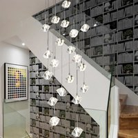 Lampe de lustre de cristal de bricolage de bricolage Hôtel européen Hôtel Top étage LED Lampes décoratives Verre moderne Escalier intérieur Chandeli