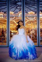 2021 moda azul e branco organza vestido de baile quinceanera vestidos 2016 frisado lace-up chão comprimento doce 16 anos desfiladeiros