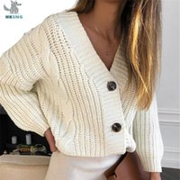 HKSNG Kadınlar Sonbahar Yumuşak Vintage Desen Siyah Beyaz Kazak Hırka Moda Tasarımcısı Uzun Kollu Kore Rahat Giyim Y200909