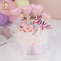 Happy Birthday Boy Girl Cake Topper Love Heart Couple Decoration for Valentine's day Wedding Party Supplies Baking Sweet Gift
