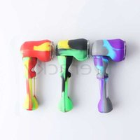 New 4Inch Silicone Spoon Hand Pipes With Glass Bowl Portable Food Grade Silicone Hand Pipes Heady Pipes Tobacco Pipe For Dab Oil Rigs
