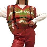 Sweater das mulheres argyle xadrez y2k sweater e-girl estilo formado vintage v neck mulheres outono casual feminino coreano moda pulôver inverno