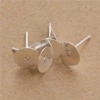 200 unids 4 mm 5 mm 6mm 8mm Oro / Pendientes de plata Ajustes en blanco Base redonda Cabochon Stud Ear Base plana Post Pure Pendientes Plata Pendientes