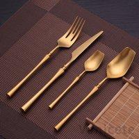 24 ADET Paslanmaz Çelik Sofra Altın Çatal Seti Bıçak Kaşık Ve Çatal Seti Yemek Kore Gıda Çatal Mutfak Aksesuarları 6 Takım T1I3273