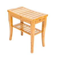 Łazienka Bambusowa ławka prysznicowa z Półką Drewno Sauna Bath Spa Siedzenia Półka Półka Organizator Stołek Meble