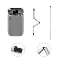 Dernier métal pliant pailles de grade alimentaire Sécurité en silicone en silicone pliante BPA gratuit Silicone Boire Paille de voyage Mini Lait Jus de lait