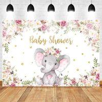 Materiale di sfondo Neoback carino elefante stile elefante baby shower sfondo acquerello fiori nati partito oro dessert tavola decorazione prope