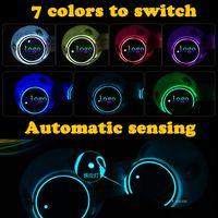 2X 자동차 돔 LED 컵 홀더 자동차 인테리어 램프 USB 다채로운 분위기 라이트 음료 홀더 안티 슬립 매트 제품 전구