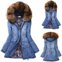 Kış Parka Coat Kadınlar Kürk Ve Yün Ceket Bayan Uzun Kalın Kürk Yaka Kapşonlu Aşağı Ceket İnce Kış Isınma Jeans Coat miegofce