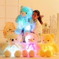 50 cm Iluminación creativa arriba LED Oso de peluche de peluche Peluche Animales de peluche Colorido regalo de Navidad brillante para niños almohada 201027