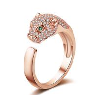 Neuer Luxus-Leopard-Kopf Europäisches Amerika Kupfer-Gold überzogene Öffnung Cluster Ring mit Zircon-Stein für Frauen Großhandel