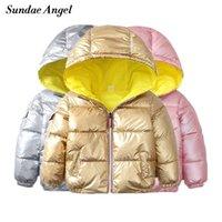 Sundae ангел зимняя куртка мальчики золото глянцевый с капюшоном теплые девушки парки пальто твердые дети вниз хлопок мягкая куртка верхняя одежда 201102
