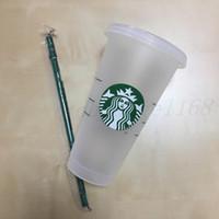 Starbucks 24oz / 710ml 플라스틱 텀블러 재사용 가능한 맑은 마시는 플랫 바닥 컵 기둥 모양 뚜껑 밀짚 찻잔 bardian 30pcs