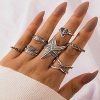 Argento antico Foglia Elephant stelle marine Anelli snodo per le donne Anelli comune Midi impilabile Finger Ring Set volontà e 7pcs sabbia / set