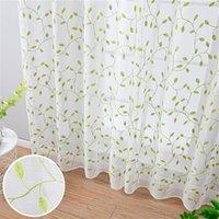 Hojas verdes Cortinas escarpadas para ventanas Cortinas de tul bordadas para sala de estar Dormitorio Cocina Ventana Niños Habitación Niños