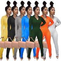 Женщины Комбинезон Сплошные Цветовые Складки Бодислот XL Сексуальные комбинезоны Элегантные Длинные Рукавы Простые Леггинсы Rompers Fall Зима Повседневная Одежда 4313