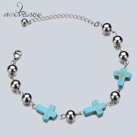 Nextvance Green Cross Turquoises Bracelet Perles en acier inoxydable gourmettes pour les femmes Hommes Coffret Cadeau Bijoux religieux