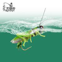 Yazhida mosca pesca cebos saltamontes moscas 12pcs 270 mm agua flotantes luces de lucio de luces de la carpa Bass LURE YZD-F12 Insecto artificial señuelos 201029