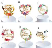 Nya hemfärgade blommor grattis på födelsedagen tårta topper gyllene akrylfödelsedagsfest efterrätt dekoration för baby shower bakning tillbehör