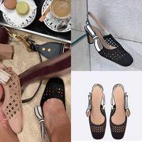 4VSJP Frauen Wildleder Mid-Heel-Pump-Sandalsandale über Designer-Schuhe Marmont-Fransen mit Fold Sandal-Designer-Sandalen-echtes Leder
