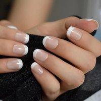 24 шт. Натуральные обнаженные белые французские подсказки для ногтей ложные поддельные ногти УФ-гель для ультрафиолетового нажима на ультра легкий износ для домашнего офиса
