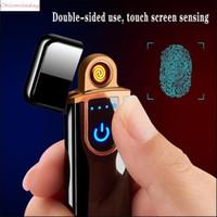 Yenilik Elektrikli Dokunmatik Sensör Serin Çakmak Parmak İzi Sensörü USB Şarj Edilebilir Taşınabilir Rüzgar Geçirmez Çakmak Sigara Aksesuarları 12 Stilleri