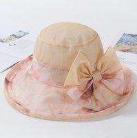 واسعة بريم القبعات 2021 الصيف الكورية نمط أزياء المرأة فتاة قبعة الشمس القوس عقدة سيدة طوي القطن السيدات في الهواء الطلق الترفيه شاطئ كاب 1