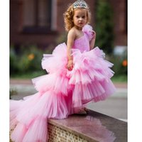 2021 Flower Girls Dresses Tulle Lace Top Spaghetti Formal Kids Wear For Party Free Shipping Toddler Gowns