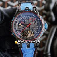 Novo Excalibur Spider RDDBEX0686 Duplo Tourbillon Mens Automático Assista Esqueleto Dial Dial Cristal Caso de aço carbono Couro azul Hello_Watch