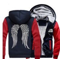 2021 Nuovi uomini DONNE DONNE US Dimensione The Walking Dead Dead Daryl Dixon Addressini Cappotto Cappuccio Felpa con cappuccio Zombie Wings Winter Fleece Giacca WYC4