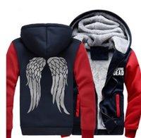 2021 NOUVEAUX HOMMES Femmes Taille américaine The Walking Dead Daryl Dixon épaississement manteau Sweat à capuche Zombie Wings Veste en polaire hiver WYC4