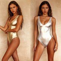 Costumi da bagno da donna 2021 Sexy Plus Size Senza maniche Seveless V Indietro Adulto Metallico Gold Oro Silver One Piece Costume da bagno Monokini Swimwear1